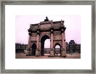 Framed Print featuring the photograph Louvre Museum Entrance Courtyard Arc De Triomphe Arch Landmark - Paris Louvre Museum Architecture by Kathy Fornal