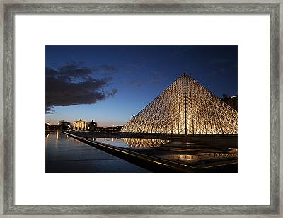 Louvre Puddle Reflection Framed Print by Joshua Francia