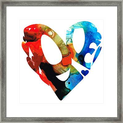 Love 8 - Heart Hearts Romantic Art Framed Print by Sharon Cummings