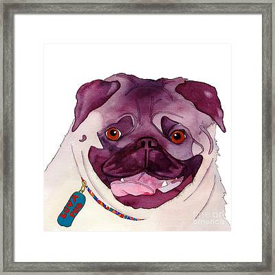 Love A Pug Framed Print by Jo Lynch