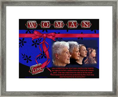 Framed Print featuring the photograph Love A Woman by Kathy Tarochione