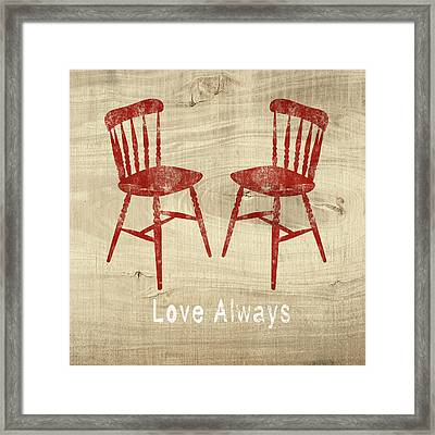 Love Always Red Chairs- Art By Linda Woods Framed Print