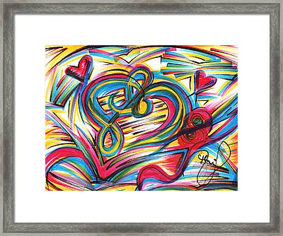 Love And Music Framed Print by Monica Sanchez