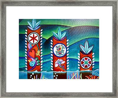 Framed Print featuring the painting Love And Romance Detail Of Pa Hex Signs by Lori Miller