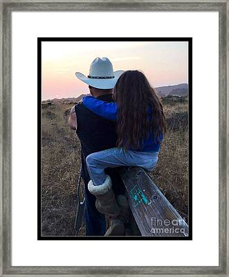 Love And Sunset Framed Print