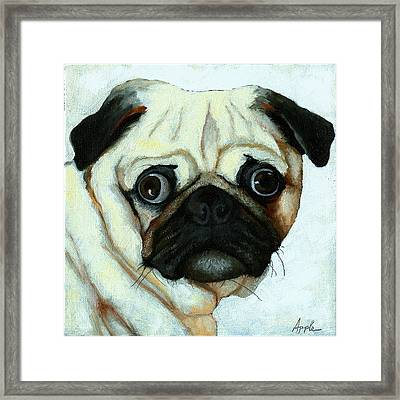 Love At First Sight - Pug Framed Print by Linda Apple