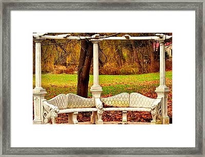 Love Bench Framed Print by Puzzles Shum