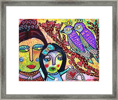 Love Birds And The Candy Heart Tree Framed Print by Sandra Silberzweig