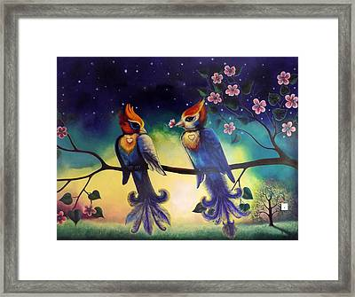 Love Birds Painting In My Bedroom Framed Print by Arun Sivaprasad