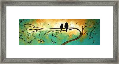 Love Birds By Madart Framed Print by Megan Duncanson