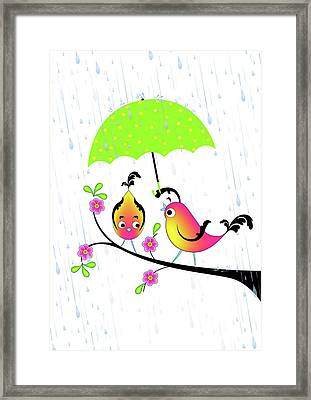 Love Birds In Rain Framed Print