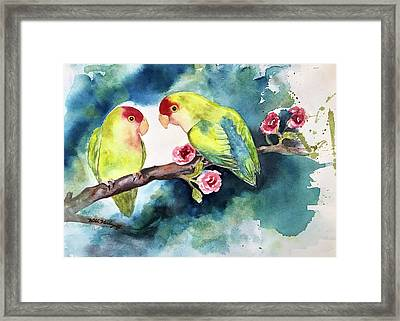 Love Birds On Branch Framed Print