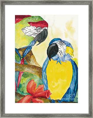 Framed Print featuring the painting Love Birds by Vicki  Housel