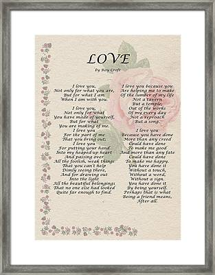 Love By Roy Croft Framed Print