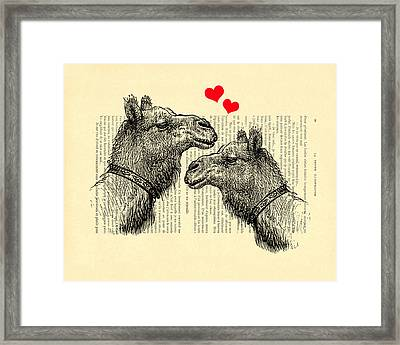 Love Camels Framed Print by Madame Memento