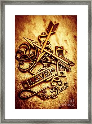 Love Charms In Romantic Signs And Symbols Framed Print