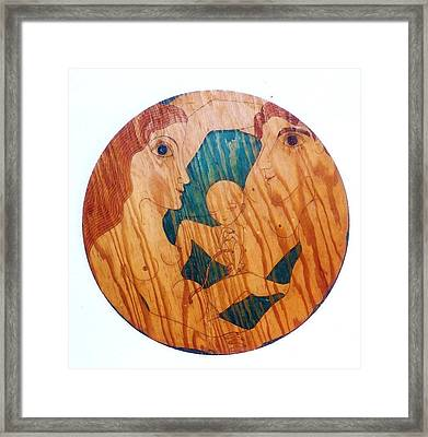 Framed Print featuring the greeting card Love Circle by Rae Chichilnitsky