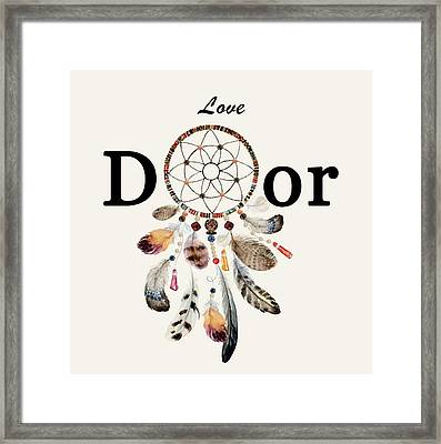 Framed Print featuring the painting Love Dior Watercolour Dreamcatcher by Georgeta Blanaru