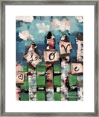 Framed Print featuring the mixed media Love Fence by Carrie Joy Byrnes