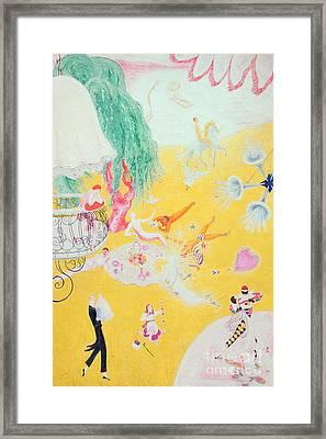 Love Flight Of A Pink Candy Heart Framed Print by  Florine Stettheimer