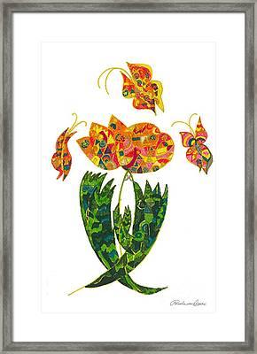 Love Flowers And Butterflies Framed Print by Pamela Von Gizycki