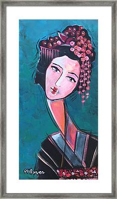 Framed Print featuring the painting Love For Geisha Girl by Laurie Maves ART