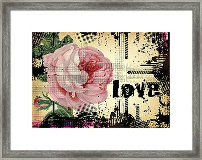Love Grunge Rose Framed Print