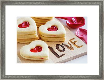 Framed Print featuring the photograph Love Heart Cookies by Teri Virbickis