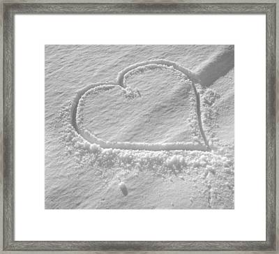 Love Heart In The Snow Framed Print by German School