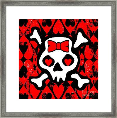 Love Heart Skull Framed Print