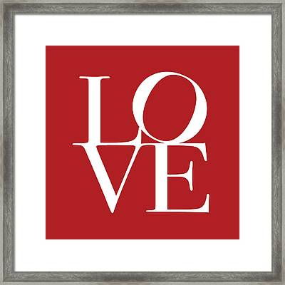 Love In Red Square Framed Print