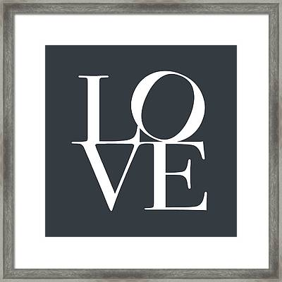 Love In Slate Grey Framed Print