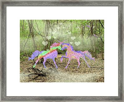 Love In The Magical Forest Framed Print by Rosalie Scanlon