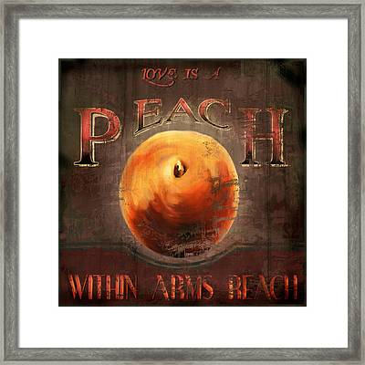 Love Is A Peach Framed Print by Joel Payne
