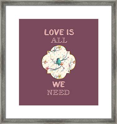Framed Print featuring the digital art Love Is All We Need Typography Hummingbird And Butterflies by Georgeta Blanaru