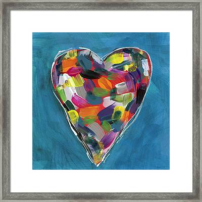 Love Is Colorful In Blue- Art By Linda Woods Framed Print
