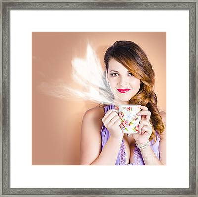 Love Is In The Air. Woman With Coffee Cup Framed Print by Jorgo Photography - Wall Art Gallery