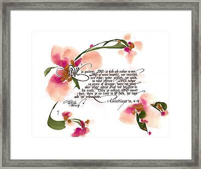 Love Is Patient Framed Print by Darlene Flood