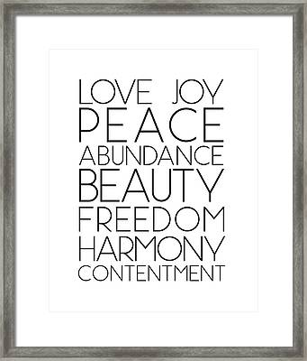 Love Joy Peace Beauty Virtues Framed Print