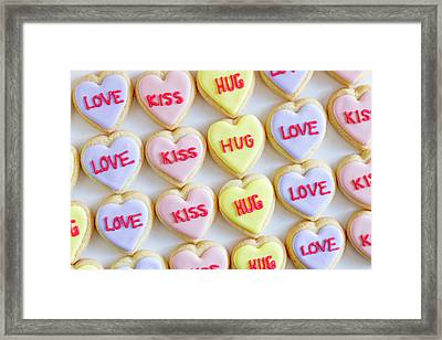 Framed Print featuring the photograph Love Kiss Hug Heart Cookies by Teri Virbickis