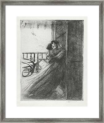 Framed Print featuring the drawing Love - La Femme Series by Paul-Albert Besnard