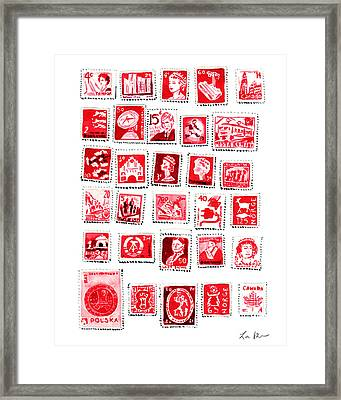 Love Letters Red Stamp Collection Romantic Framed Print
