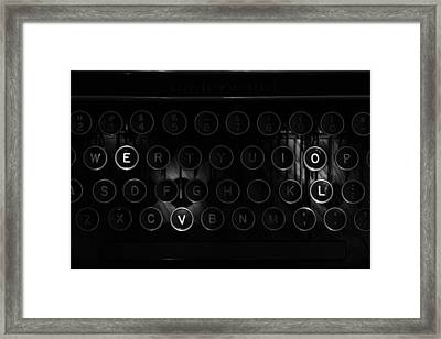 Love Letters Vintage Typewriter Keys Black And White Framed Print by Terry DeLuco