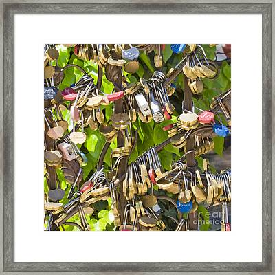 Framed Print featuring the photograph Love Locks Square by Chris Dutton