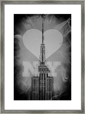 Love New York Bw Framed Print