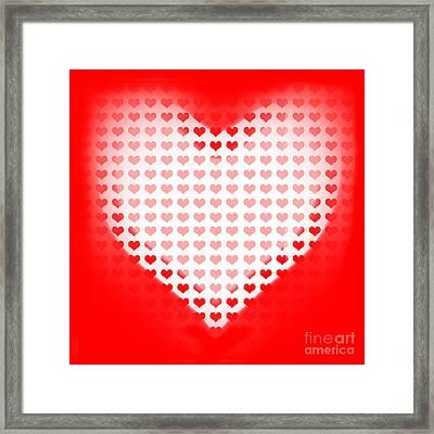 Love Of Valentines Background. Big Red Heart Framed Print