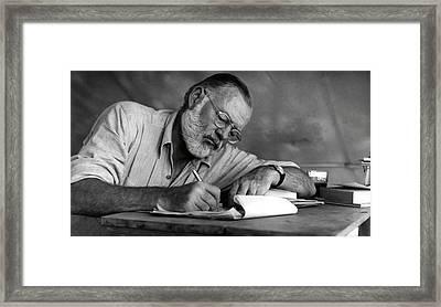 Love Of Writing - Ernest Hemingway Framed Print by Daniel Hagerman