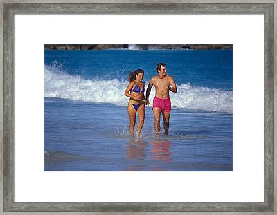 Framed Print featuring the photograph Love On A Beach by Carl Purcell