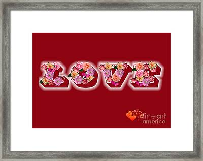 Love On Red With Flowers Framed Print