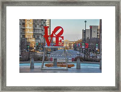 Love Overlooking Benjamin Franklin Parkway Framed Print